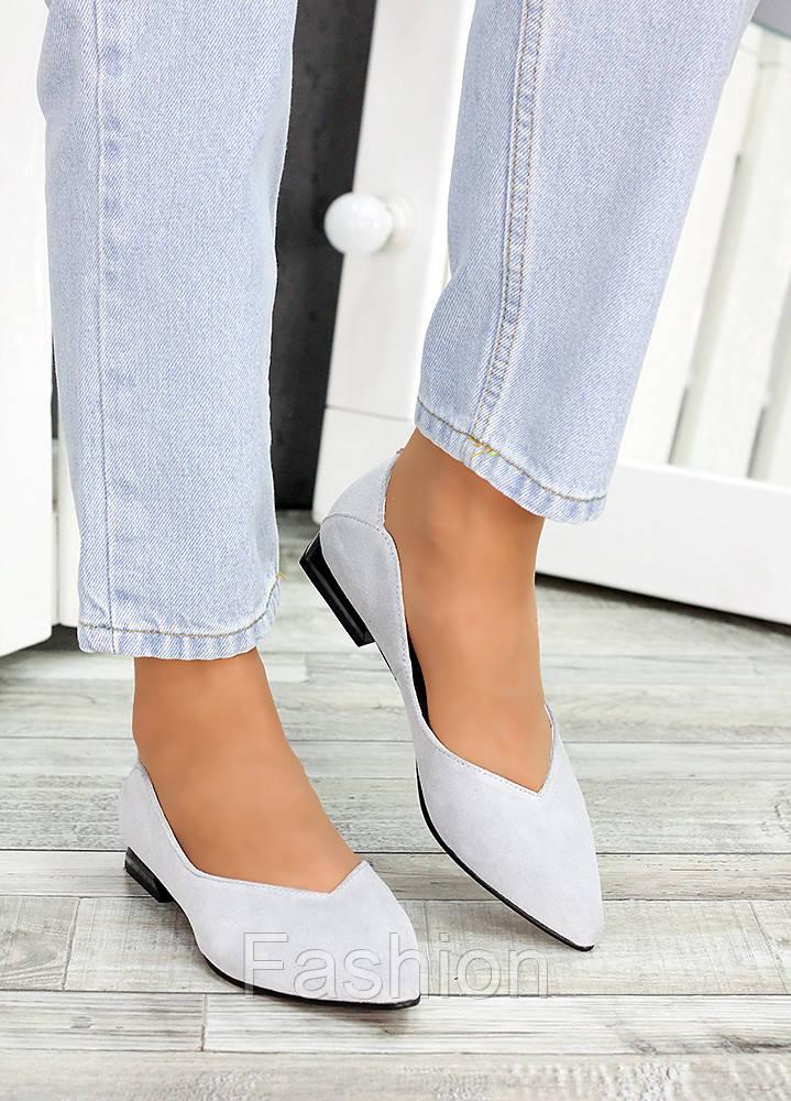 Женские замшевые туфли серые