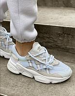 Кроссовки Adidas Ozweego White женские / Обувь Адидас Озвиго белые замшевые весна-лето