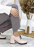 Жіночі туфлі шкіряні на підборі пудра, фото 2