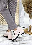 Жіночі туфлі шкіряні на підборі пудра, фото 3