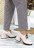 Жіночі туфлі шкіряні на підборі пудра, фото 4