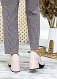 Жіночі туфлі шкіряні на підборі пудра, фото 5