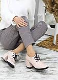 Жіночі туфлі шкіряні на підборі пудра, фото 6