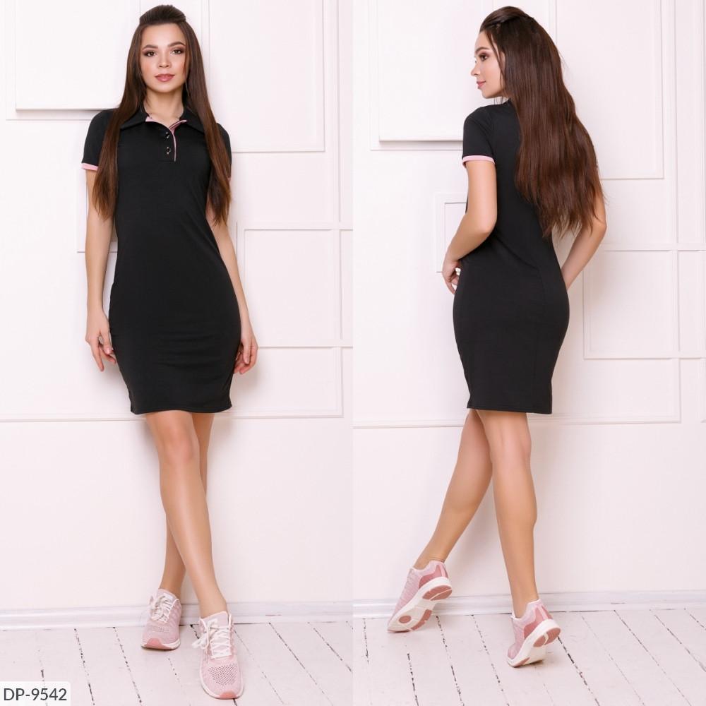 Платье поло, №214, черный, с 42 по 46р