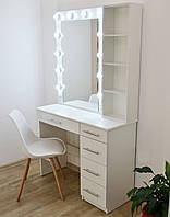 Туалетный столик и макияжное зеркало с подсветкой и полками Zerka 1000 mm