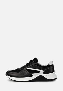 Мужские кожаные черные кроссовки с белыми вставками