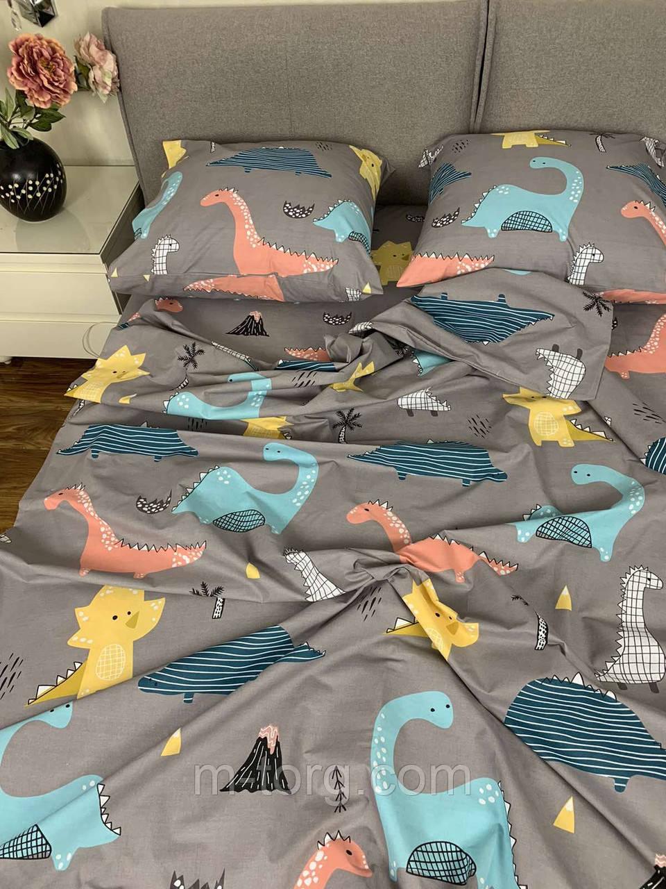 """""""динозавр"""" Комплект постельного белья полуторный 150/210 см, нав-ки 70/70, ткань бязь, 100% состоит из хлопка"""