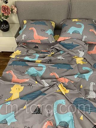 """""""динозавр"""" Комплект постельного белья полуторный 150/210 см, нав-ки 70/70, ткань бязь, 100% состоит из хлопка, фото 2"""