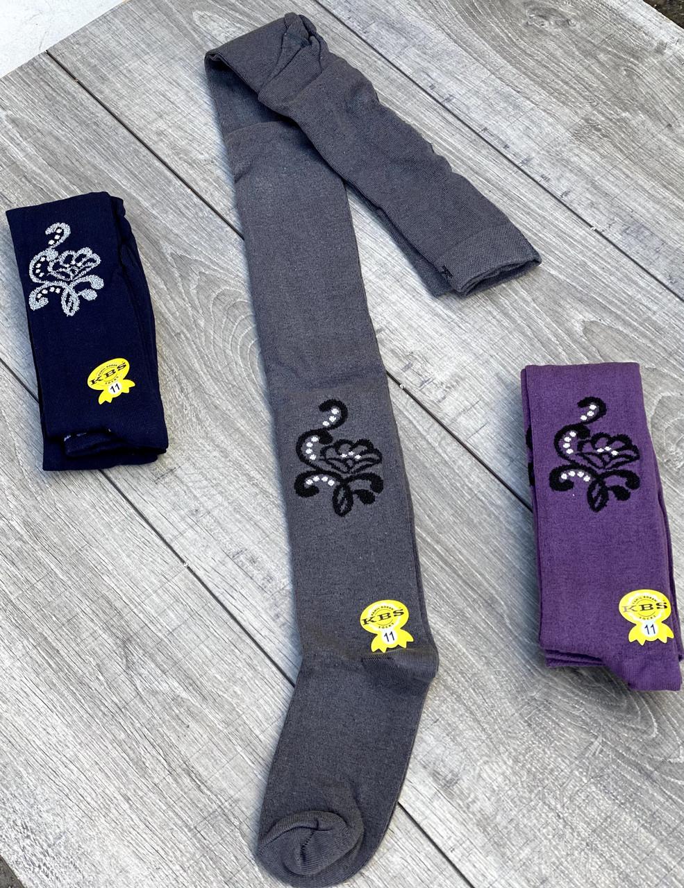 Подростковые колготы хлопок KBS с рисунком цветка украшены люрексом 6 шт. в уп. микс из 3х цветов