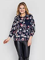 Нарядная синяя женская блузка из принтованного хлопка большие размеры 52, 54, 56, 58, фото 2