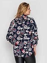 Нарядная синяя женская блузка из принтованного хлопка большие размеры 52, 54, 56, 58, фото 3