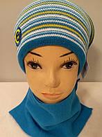 Комплект вязаный подростковый шапка шарф  мальчик