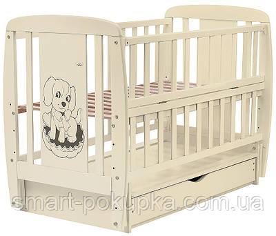 Ліжко Babyroom Собачка маятник, ящик, відкидний пліч DSMYO-3 бук слонова кістка
