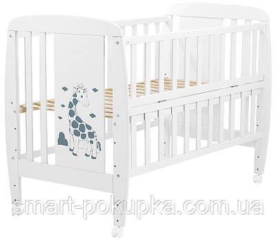 Ліжко Babyroom Жирафик відкидний бік, колеса DJO-01 бук білий