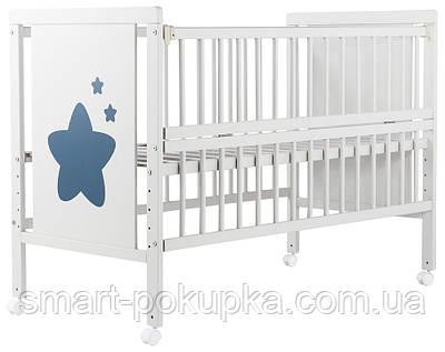 Ліжко Babyroom Зірочка Z-01 відкидний бік, колеса бук білий