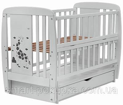 Ліжко Babyroom Жирафик маятник, ящик, відкидний пліч DJMYO-3 бук сірий