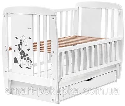 Ліжко Babyroom Жирафик маятник, ящик, відкидний пліч DJMYO-3 бук білий