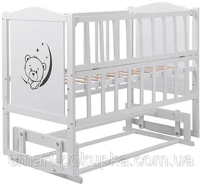 Ліжко Babyroom Тедді Т-02 фігурне бильце, маятник, відкидний пліч білий