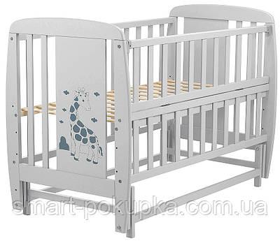 Ліжко Babyroom Жирафик маятник, відкидний пліч DJMO-02 бук сірий