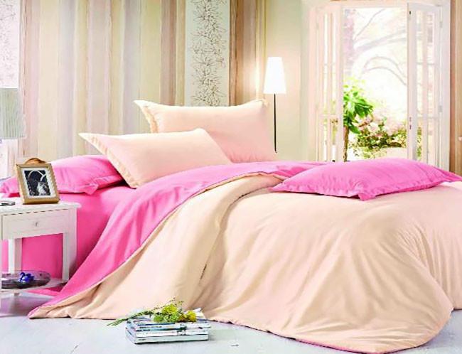 """Однотонное постельное белье розово-персиковое """"Сибил"""""""