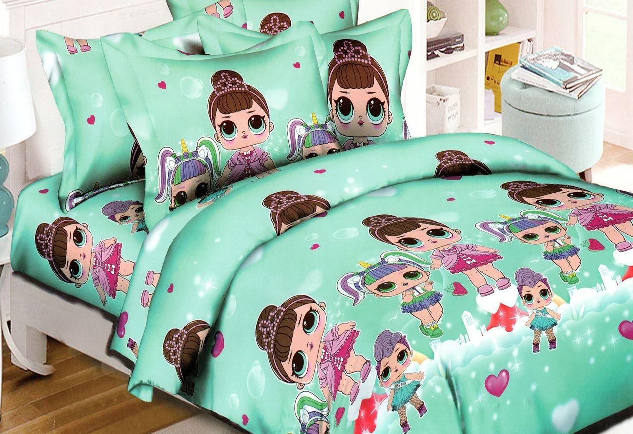 """Мятное постельное белье полуторка для девочек """"Куклы Lol"""""""