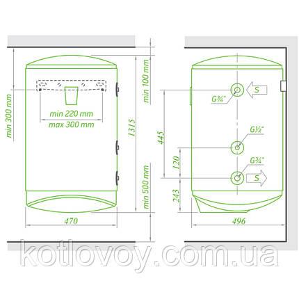 Комбінований водонагрівач Tesy Modeco Ceramic 150 л, сухий ТЕН 2х1,2 кВт (GCV11SO1504724DC21TS2RCP), фото 2