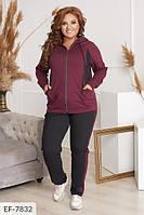 Спортивный костюм женский повседневный кофта на молнии и штаны размеры батал 50-56  арт. 2048, фото 1