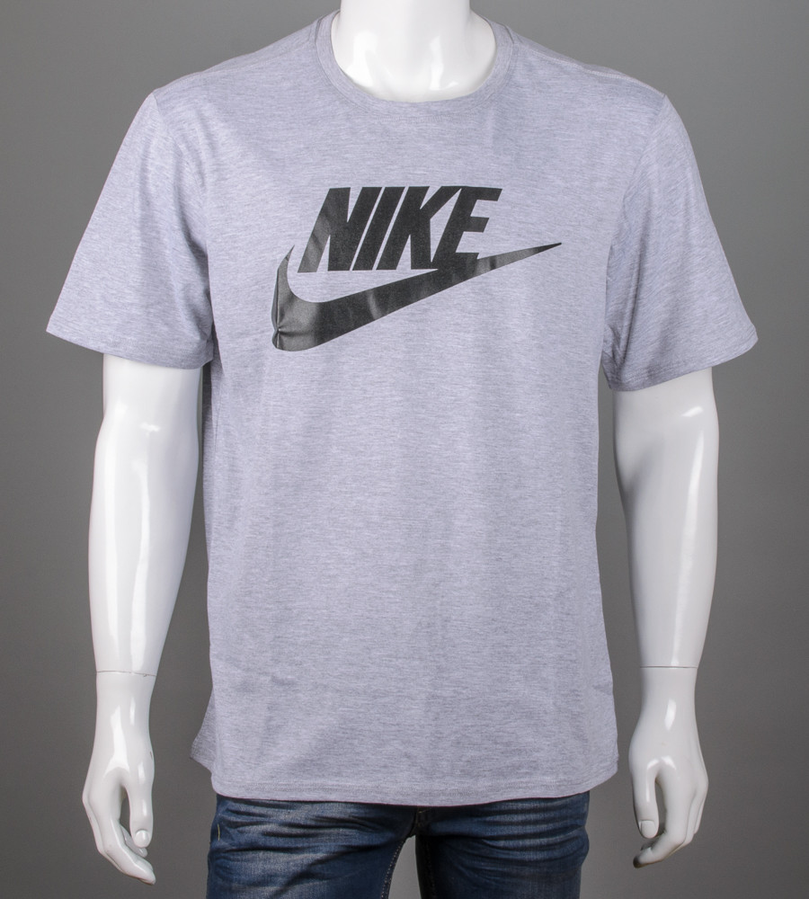 Футболка мужская батал Nike (2110б), Серый меланж