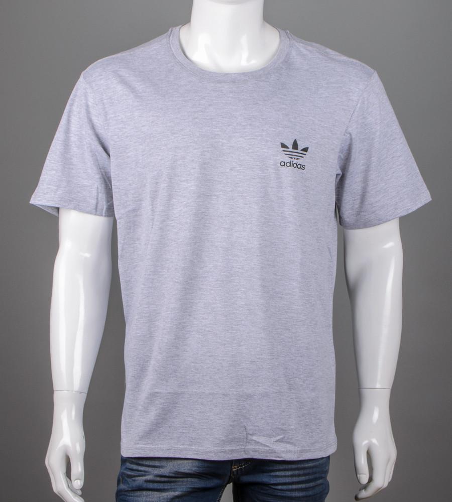 Футболка мужская батал Adidas (2111б), Серый меланж