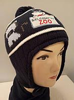 """Комплект вязаный подростковый шапка шарф """" Zoo """" мальчик."""
