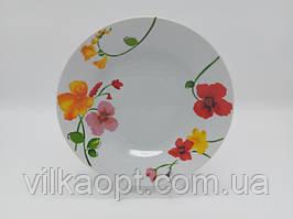 Тарелка глубокая столовая керамическая Вьюнок белая цветная для супа Миска для первых блюд суповая 550 мл