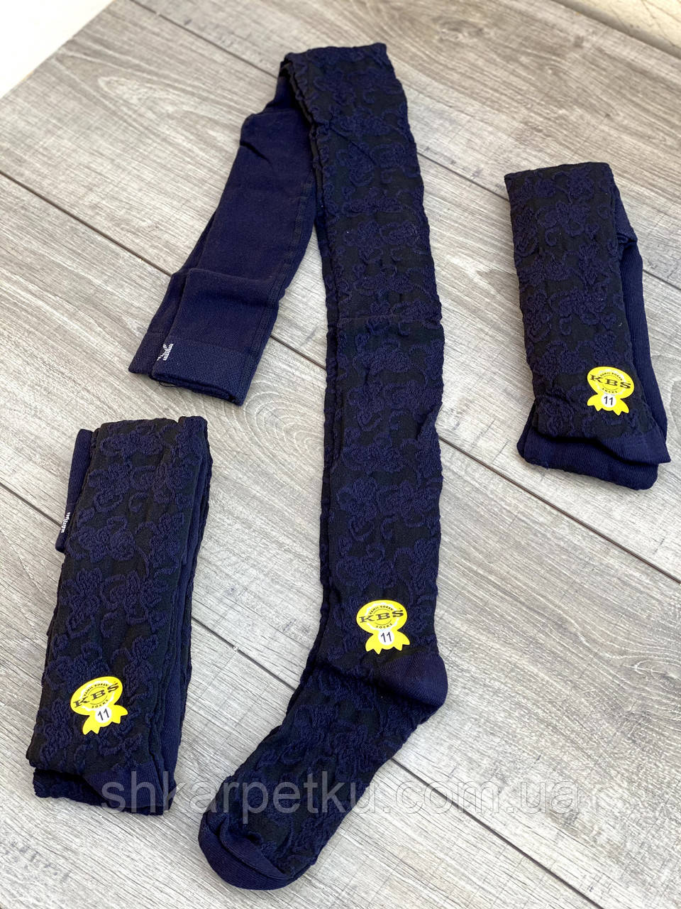 Дитячі підліткові колготки бавовняні KBS ажурні для дівчат 7,9,11 років 6 шт. в уп.чорні з синім візерунком