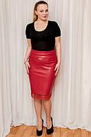 Кожаная юбка с гипюром красного цвета , фото 1