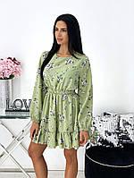 Женское нежное платье в цветочный принт из софта (Норма), фото 8