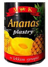 Ананас консервированный кольцами в сиропе Ananas plastry M&K (Польша), 565г ж/б