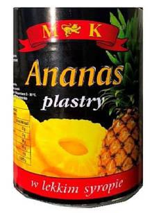 Ананас консервований кільцями в сиропі Ananas plastry M&K (Польща), 565г ж/б