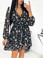 Нежное женское платье в цветочный принт из шифона с вырезом (Норма), фото 2