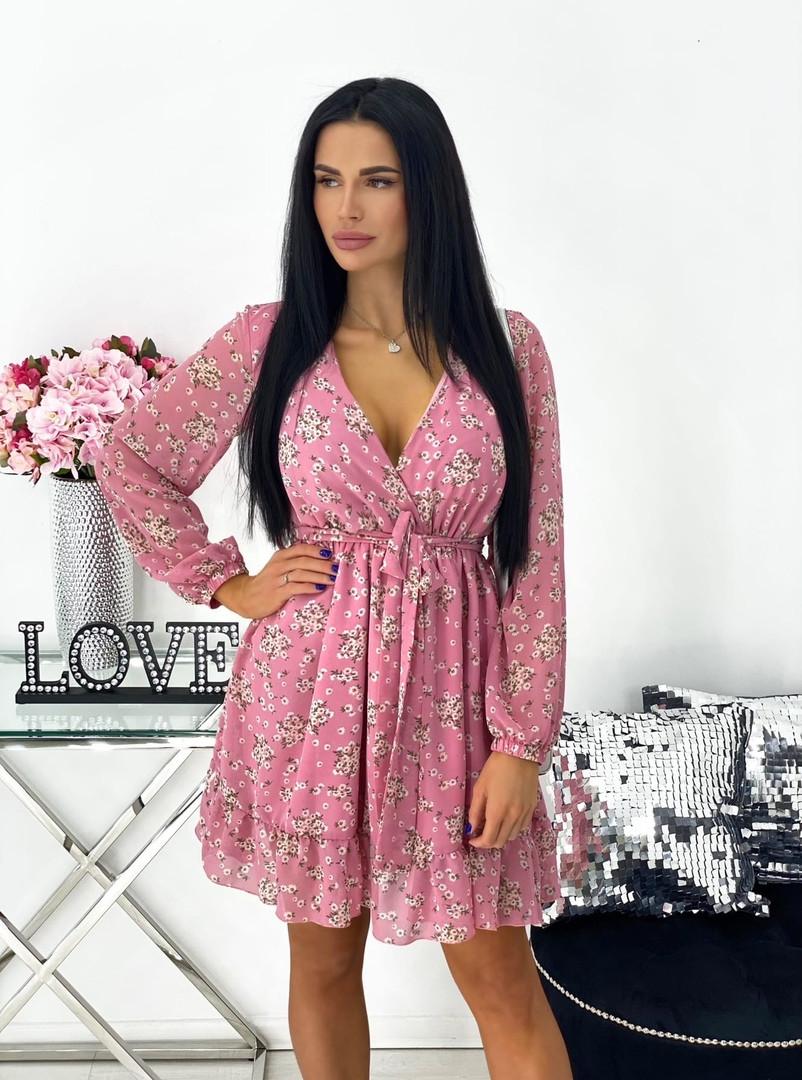 Нежное женское платье в цветочный принт из шифона с вырезом (Норма)