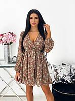 Нежное женское платье в цветочный принт из шифона с вырезом (Норма), фото 8