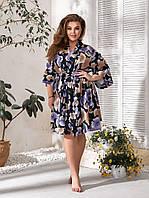 Молодёжный красивый пижамный комплект-ночная рубашка и халат из софта с 48 по 62 размер