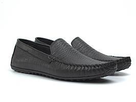 Кожаные черные мокасины тиснение рептилия мужская обувь стильная Rosso Avangard M4 Black Ript