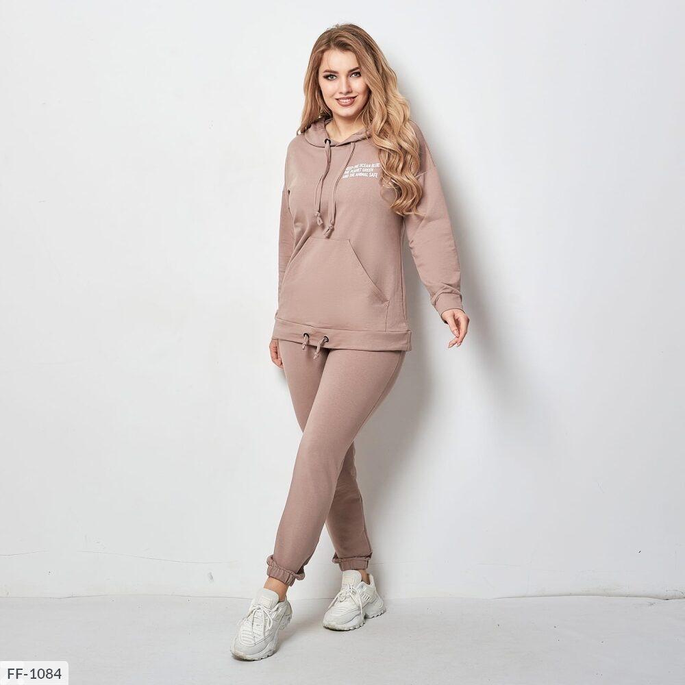 Спортивный костюм женский легкий худи кенгуру с штанами большие размеры 46-50 арт. 5049/2