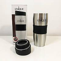 Подарок мужчине Термокружка UNIQUE UN-1072 0.38 л. Цвет: Черный силиконовая вставка, противоскользящее дно