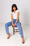 Голубые широкие и длинные джинсы с высокой посадкой в размерах: S, M, L, XL., фото 3