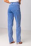 Голубые широкие и длинные джинсы с высокой посадкой в размерах: S, M, L, XL., фото 2