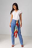 Голубые широкие и длинные джинсы с высокой посадкой в размерах: S, M, L, XL., фото 5