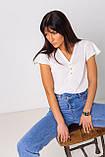 Голубые широкие и длинные джинсы с высокой посадкой в размерах: S, M, L, XL., фото 6