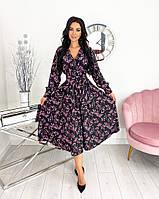 Женское нежное удлиненное платье в цветочный принт из софта (Норма), фото 3