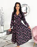 Женское нежное удлиненное платье в цветочный принт из софта (Норма), фото 4