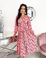 Женское нежное удлиненное платье в цветочный принт из софта (Норма), фото 5